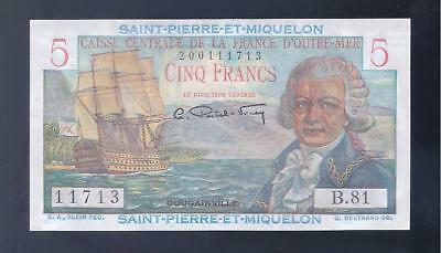 ST. Pierre & Miquelon, 1950-60, 5 Francs, P-22, CHOICE CRISP UNC!!!