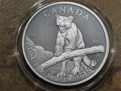 """2013 Antiqued Finish 1 oz Canadian """"Cougar"""" Wildlife Series .9999 Silver"""