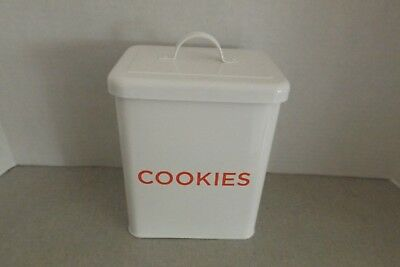 Martha Stewart Cookie Enamel Tin White And Red With Lid Seal Printed Cookies