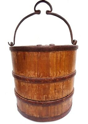Primitive 1800s Antique Vtg Bucket Cast Iron Stave Wood Well Farm China Chinese