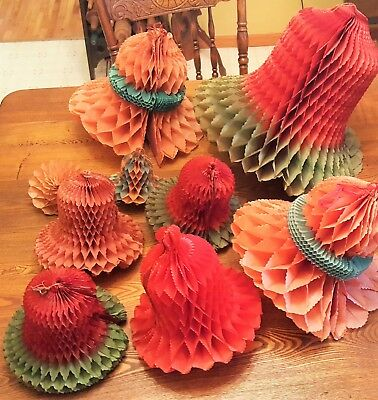 """Antique Crepe Paper Honeycomb Christmas Bells Germany / Beistle From 15.5"""" To 5"""""""