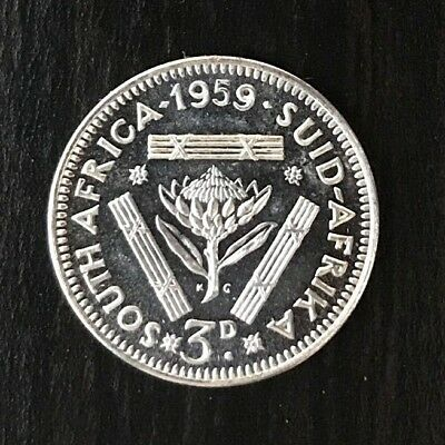 South Africa 1959 Silver Queen Elizabeth 3d Threepence PROOF RARE - 950 Minted!