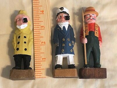 3 Vintage Carved Wood Sailor and Ship Captain  Folk Art Nautical And Fisherman