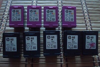 HP 60 Empty Ink Cartridges- Lot of 9 (5 Black and 4 Tri-color)