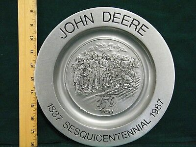 Vintage John Deere 150 Years 1837-1987 Sesquicentennial Collector Plate Pewter