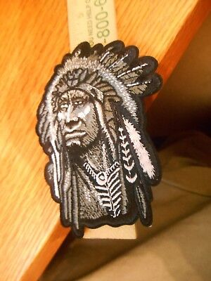 """4"""" INDIAN Iron on Patch Gray - Black - White"""