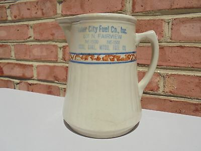 Old Antique Red Wing Sponge Band Advertising Pitcher Inter City Fuel Co 7 1/2""