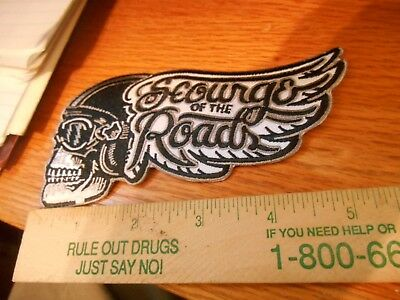 1 SCOURGE of the ROAD Skull Helmet Winged Iron on Patch