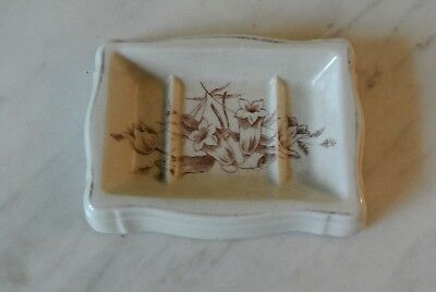 Antique Vintage White Ironstone China Soap Dish  Brown Transfer ware