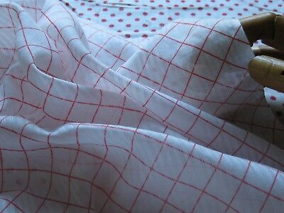 ANTIQUE SHEER TOMATO RED GRID PATTERN COTTON DIMITY PCE 35Wx21L/Dolls