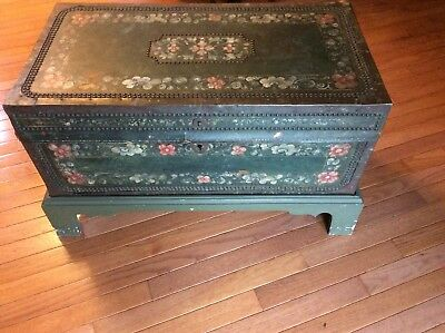 Early 19th Century CHINESE TRADE CAMPHOR Box WOOD, BRASS, LEATHER TRUNK