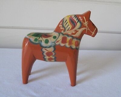 Vintage Dala Swedish 6.5 Inch Painted Wooden Folk Art Horse Tillv GA Olsson