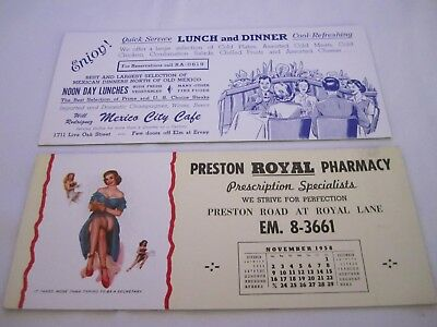 Vintage 1959 Advertising Risque Pin Up Ink Blotter Card