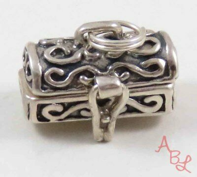 Sterling Silver Vintage 925 Antique Chest Box Charm Pendant (3.5g) - 734201