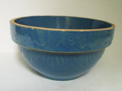 Vintage Antique Stoneware Blue Crock Mixing Bowl 8""