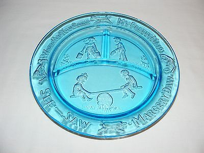 Vintage Child's Divided Blue Depression Glass Plate Children Dogs Cats