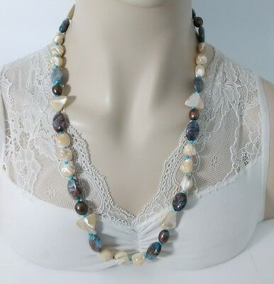 """Vintage Mother Of Pearl, Cultured Pearl & Gemstone Beaded Necklace 27"""" T8-6"""