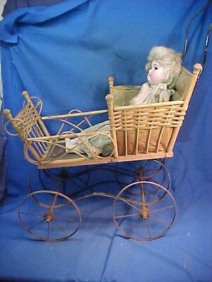 Late 19thc VICTORIAN Era WICKER DOLL CARRIAGE