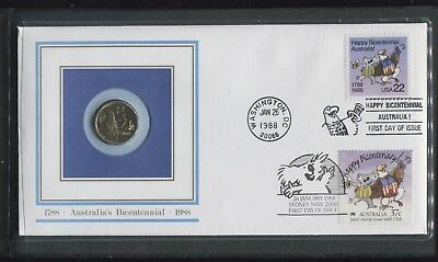 Australia's Bicentennial 1988 First Day Cover with $2AUD Coin in Display