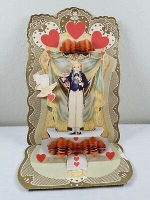 """c.1930s Vintage Die Cut Fold Out Honeycomb MAGICIAN Valentine Card 9"""" X 6 1/4"""""""