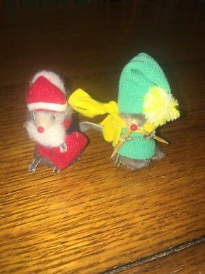 Little Mouse Factory Real Fur Toy Santa And Skier Vintage Germany
