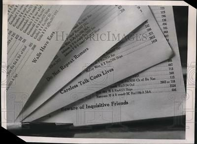 1941 Press Photo Reminders Printed On Bottom Of Navy Department Phone Directory