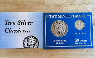 Two Silver Classics Coin Walking Liberty Half Dollar 1935 Mercury Dime 1944 Set