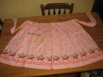 Vintage CoTToN Half APRON PiNk Gingham Check With Calico CaTs & DoGs 1 Pocket