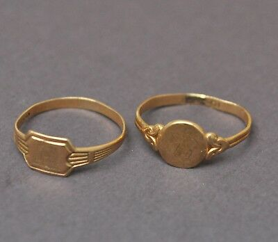 "Antique Vintage 10K Gold Rings 1.3g Small Infant Child Baptism Rings? ""R"""
