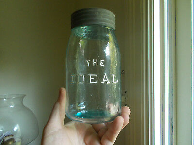 Crude Whittled The Ideal Ground Lip Quart Fruit Jar W/original Glass Lid & Band