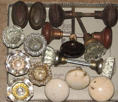 antique & vintage lot of 18   DOOR KNOBS   glass porcelain metal