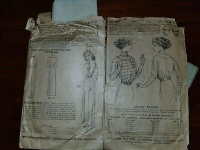 antique womens sewing patterns 14+, early 1900's, 4 from 1930's?? Some rolled up