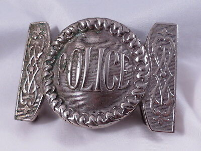 Antique 1800's Police Belt Buckle,Heavy Round Center With Ornate Designs,Nickle