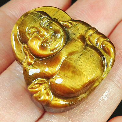 69.6Ct 100% Natural Unique African Tigereye Buddha Carving Pendant UCFH79