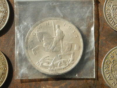 Mint State 1935 Great Britain Silver Crown + 4 Half Crowns