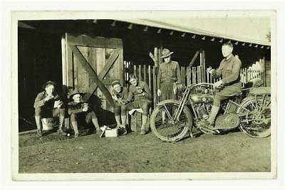 Harley Davidson Military Motorcycle WWI Signal Corps Vtg 1937 RPPC - Camp Lewis
