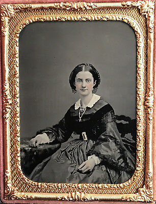 An Exquisite 1/4 Plate Ambrotype Of A Bejeweled Beauty W/ Crosses In A Full Case
