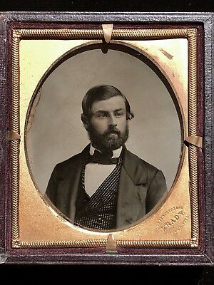 Exquisite 1/6 Plate Ambrotype By Mathew Brady In Cutting Patent Case - Very Rare