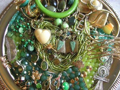 Vintage Now Estate Jewelry Junk Drawer Lot Unsearched Untested Wearable GREEN