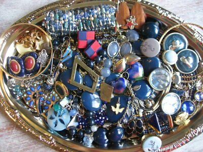 Vintage Now Estate Jewelry Junk Drawer Lot Unsearched Untested Wearable BLUE