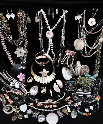 HUGE VTG GENUINE PEARL, MOTHER OF PEARL JEWELRY LOT *GORGEOUS * 57 Pcs