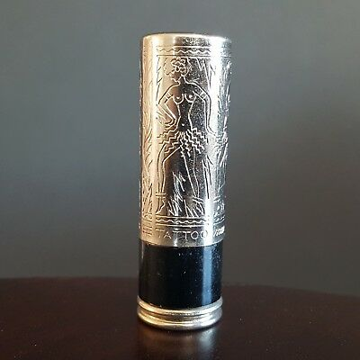 Vintage 1930s TATTOO Lipstick Case Tube Silver Black Chrome 1940s Dancers
