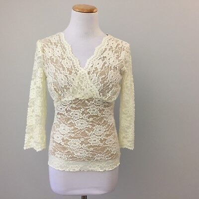 CAbi Women Small 427 Shirt Blouse Top Stretch Crossover Lace Overlay