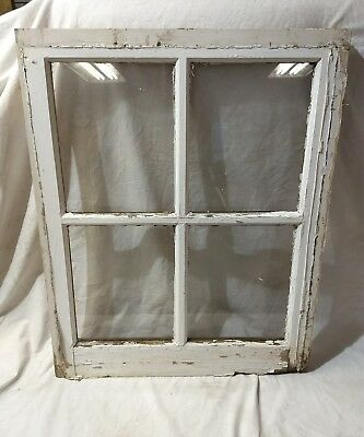 Old Vintage Antique Shabby Chic Window  4 Pane Farmhouse Frame Barn Salvage Home