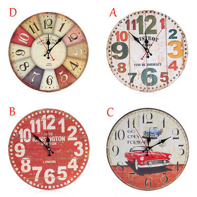 UK Vintage Rustic Wooden Wall Clock Antique Shabby Chic Retro Home Kitchen Decor