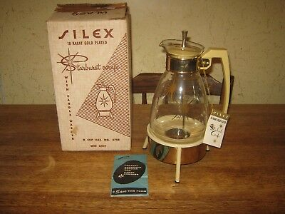 Vintage Silex Starburst 8 Cup Carafe with Candle Warmer Original Box