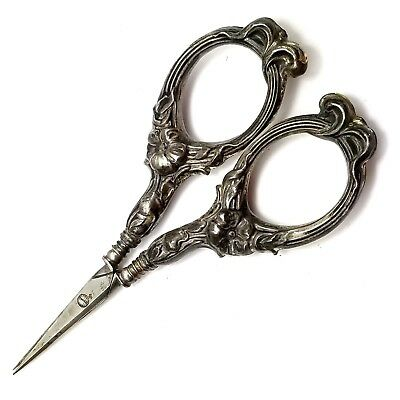 "Sterling Silver Ornate Handle Antique Dress Making Scissors Small 4"" Vtg Floral"