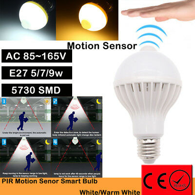 5W/7W/9W E27 LED PIR Motion Sensor Auto Energy Saving Light Lamp Bulb Infrared