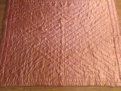 vtg MID-CENTURY SATIN GLAMOUR QUILT DUSTY ROSE COLOR 82 BY 54 inches no tag