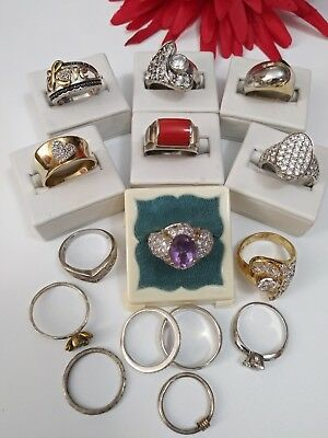 Vintage Sterling Silver Ring Lot of 16 With  & without stones & Diamonds 66.8g